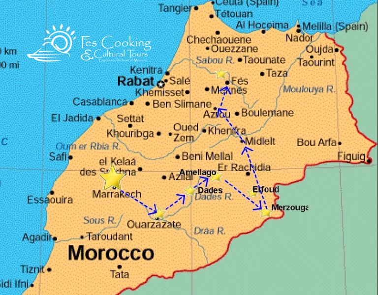 From Marrakech Atlas Mountains Desert Tour Map Fescooking