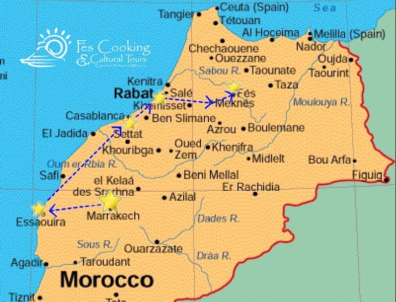 from-marrakech-imperial-cities-tour-map | Fescooking & Morocco ...