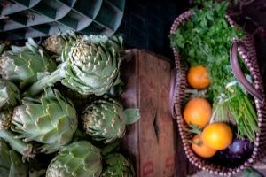 Souk artichokes and oranges